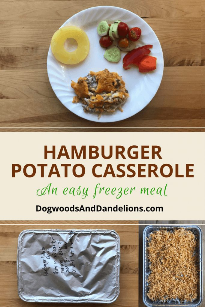 hamburger potato casserole | freezer meal | one dish dinner | one pot wonder
