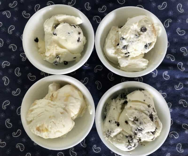 4 different flavors of no churn ice cream