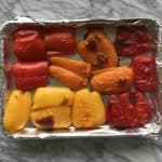 Roasted peppers just pulled from the oven