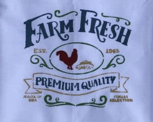 Farm Fresh Stenciled flour sack dish towel makes a great gift for the chicken lover.