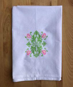 Floral painted tea towel