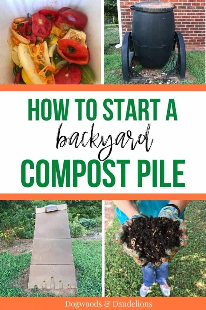 composters, veggie scraps, and finished compost