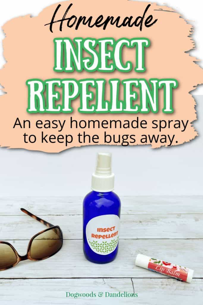homemade insect repellent spray with essential oils, sunglasses, and lip balm