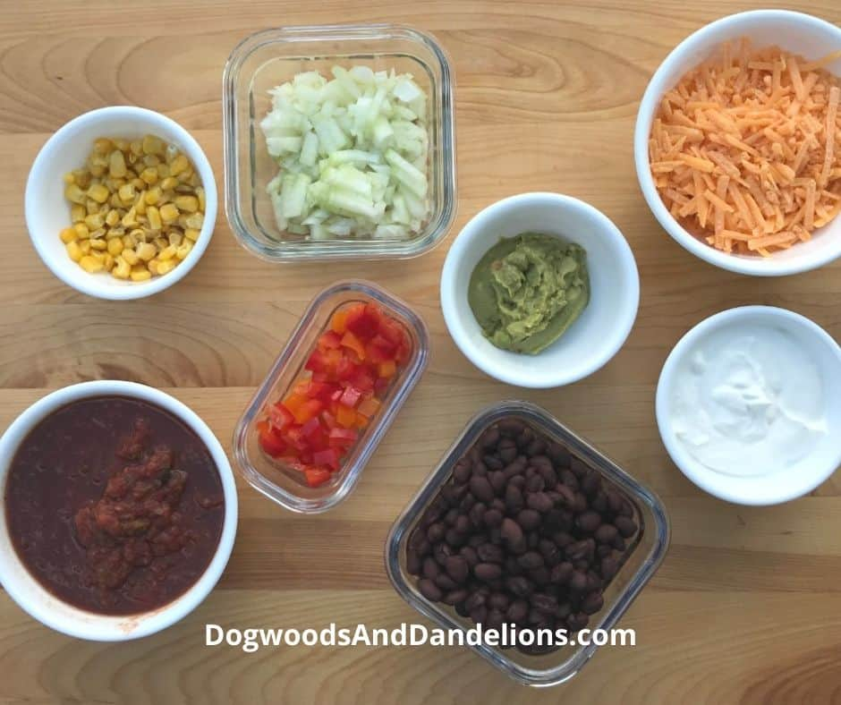 Burrito bowl and taco toppings