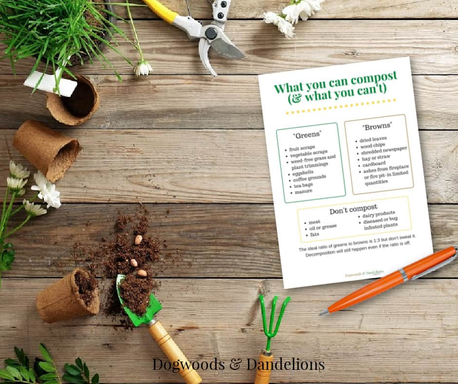compost printable with garden tools