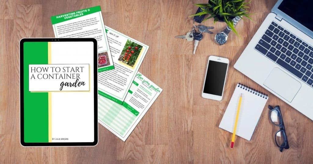 desktop with container garden ebook