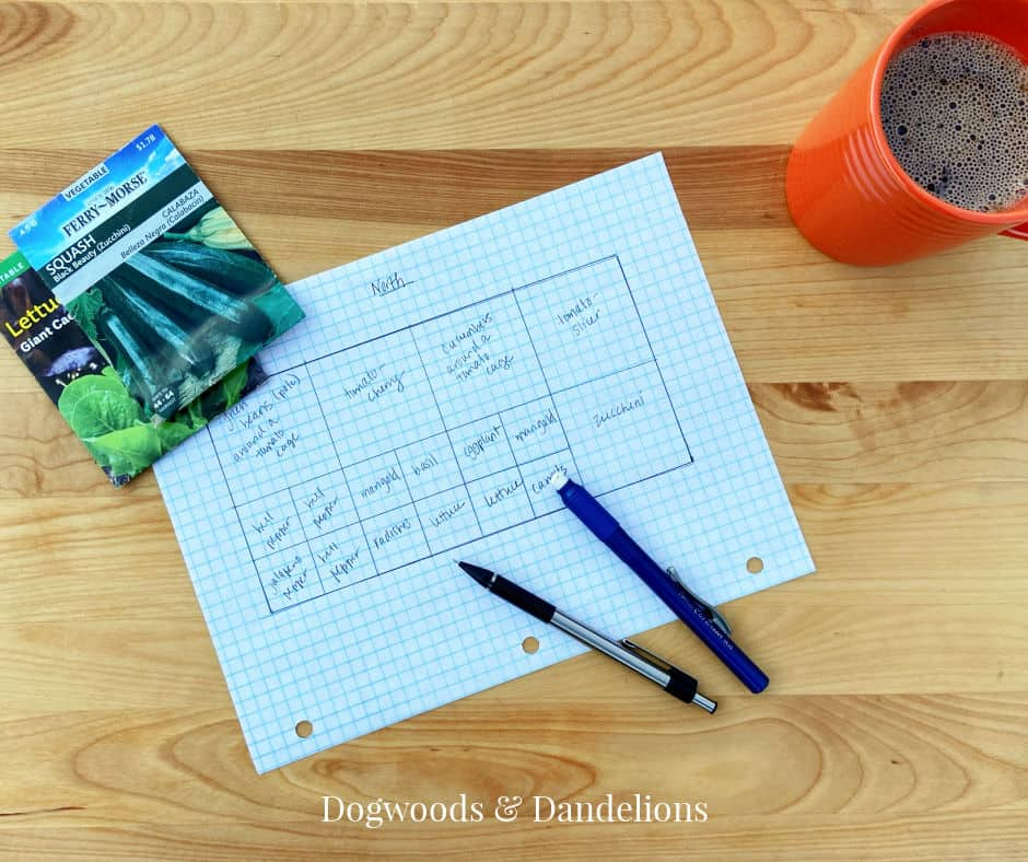 garden plan with pencil, eraser, seed packets, and coffee
