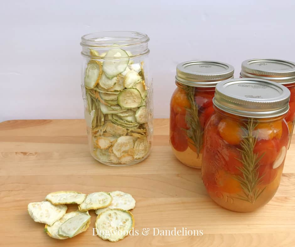 dehydrated squash and pickled tomatoes