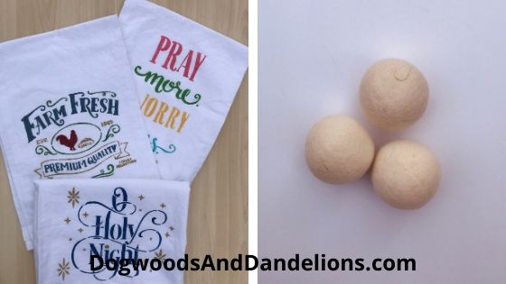 stenciled flour sack towels, wool dryer balls