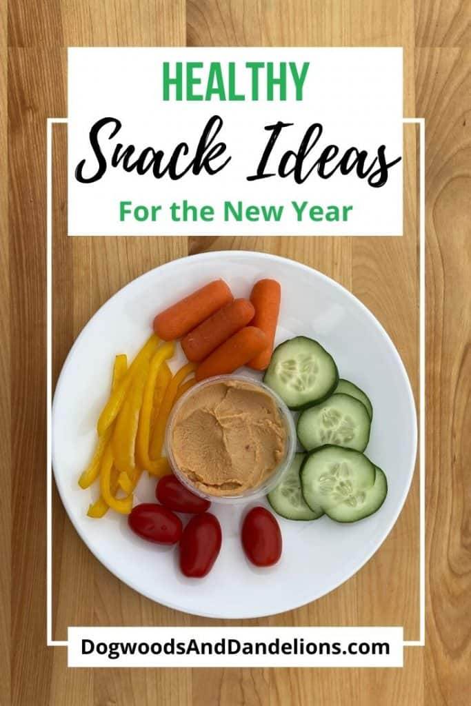 Healthy snack ideas include veggies and hummus.