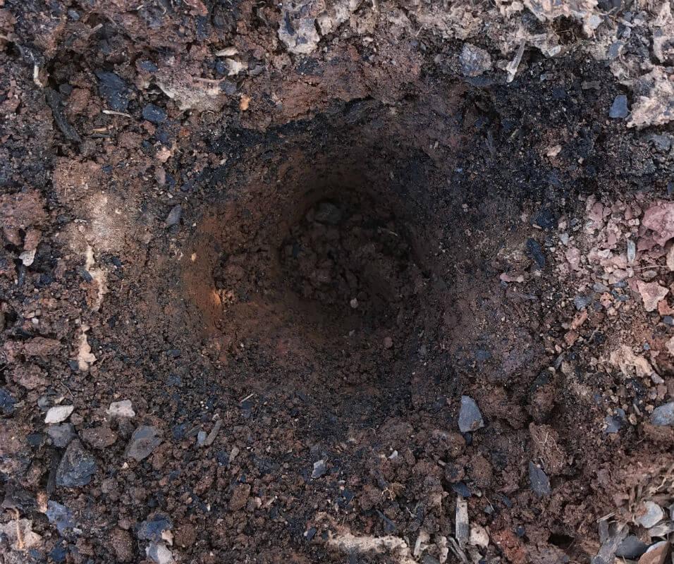 Hole dug for soil testing