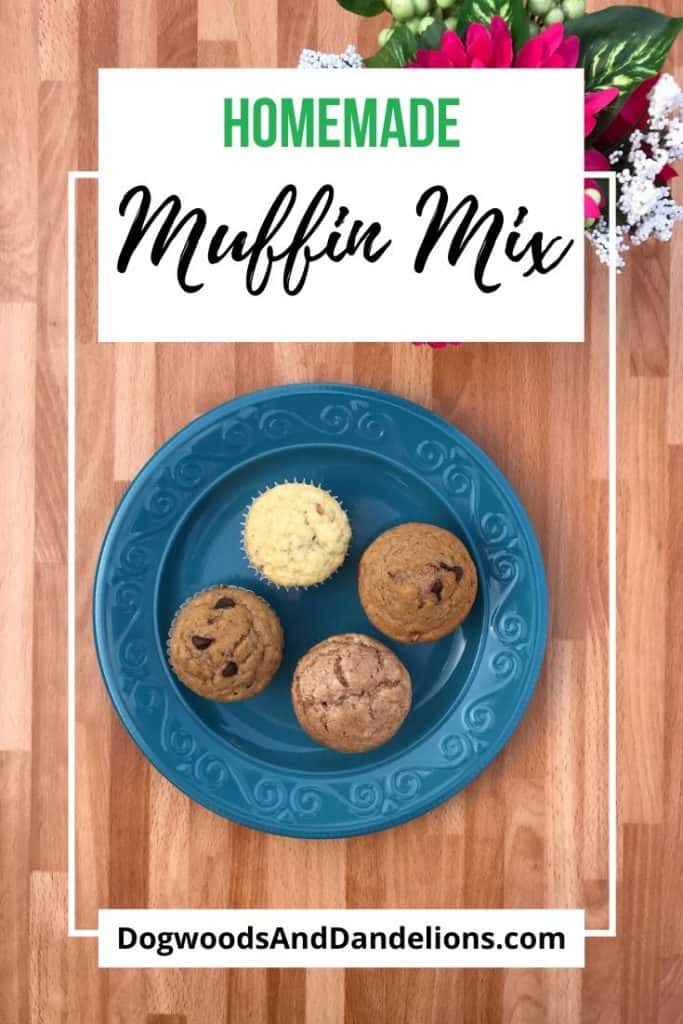 homemade muffin mix made into muffins on a plate
