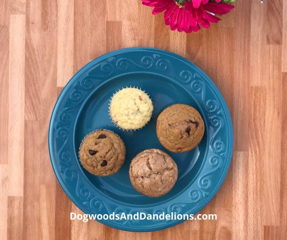 An assortment of muffins made from homemade muffin mix.