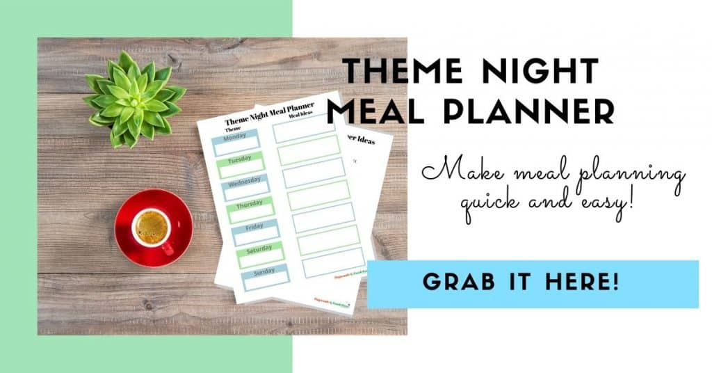 theme night meal planner with coffee cup and plant