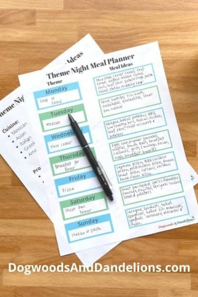 Theme Night meal planner filled out.