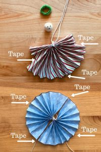 Where to tape the paper ornaments