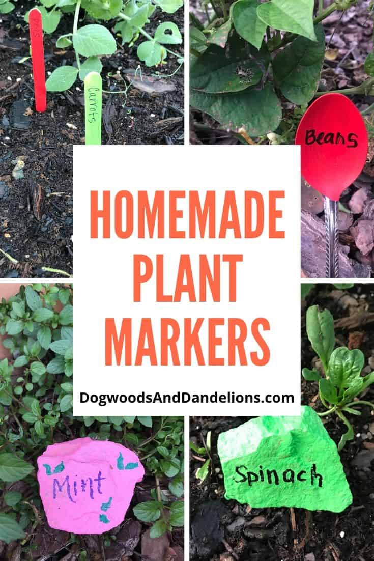 homemade plant markers in the garden