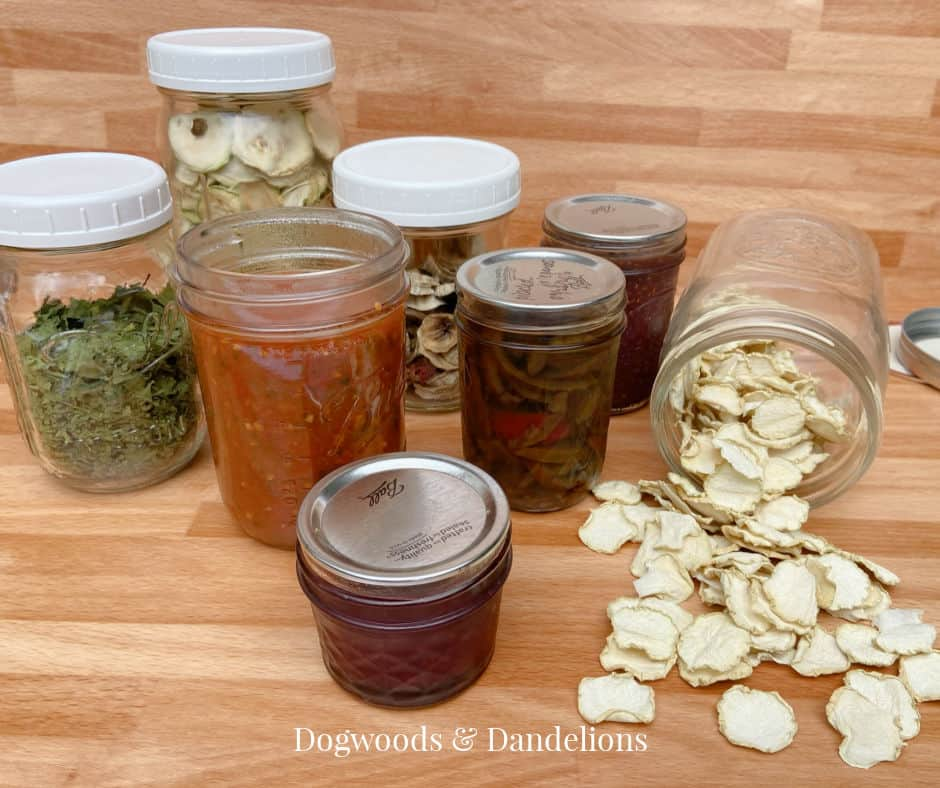 salsa, jams, and dehydrated produce
