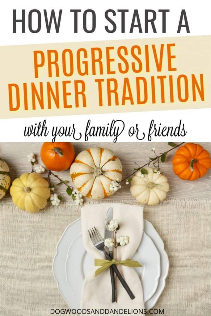 thanksgiving table set for a progressive dinner