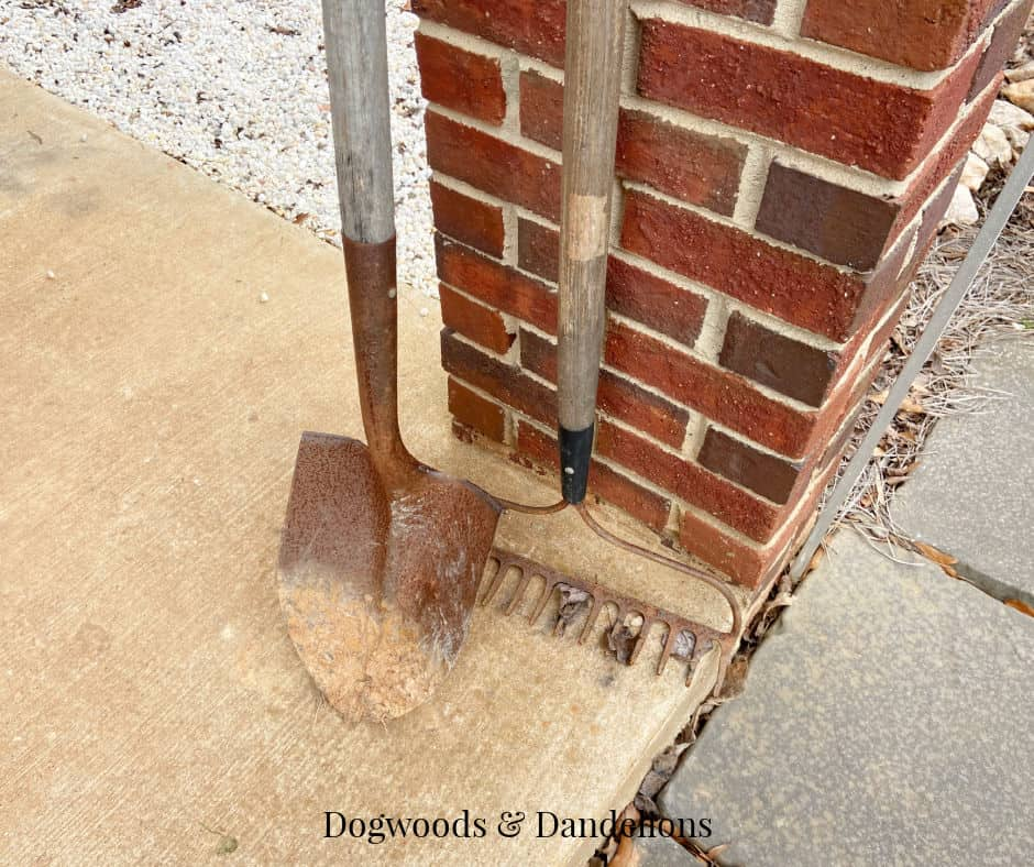 dirty shovel and rake