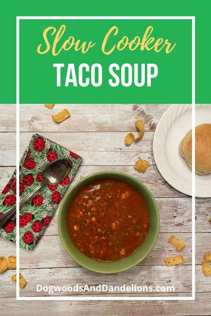 Slow cooker taco soup and a homemade dinner roll.