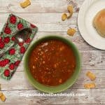 A bowl of slow cooker taco soup.