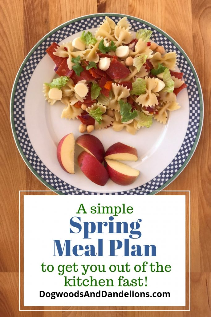 simple spring meal plan with pic of pasta salad and apples