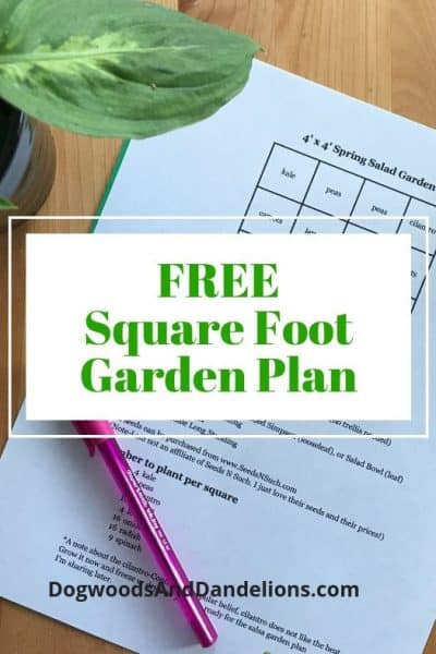 free square foot garden plan for spring