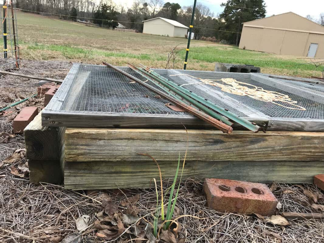 A wooden raised gardening bed.